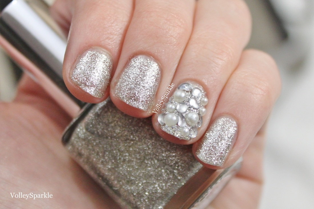 3D Rhinestone & Pearl Covered Nail Art | How To - volleysparkle