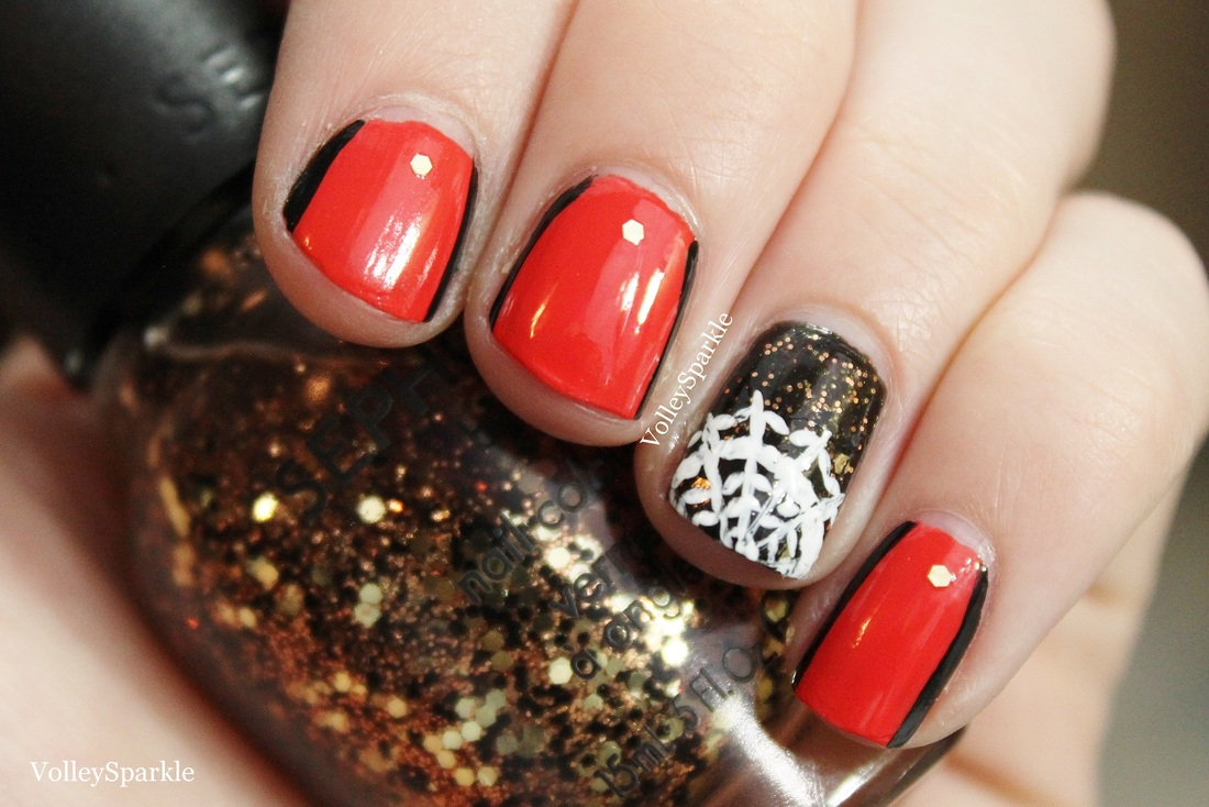 Lace Spiderweb Orange Pinstripe Halloween Nail Art How To